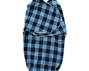 Brice's Navy Blue Buffalo Check Swaddle Wrap | Woodland Baby Swaddle