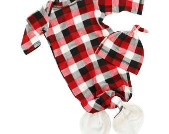 Beau's Red Plaid | Baby Boy Knot Newborn Layette Knot Gown, Hat Set | Baby Boy Going Home Outfit | Mermaid Knot Gown | Red, Black & White