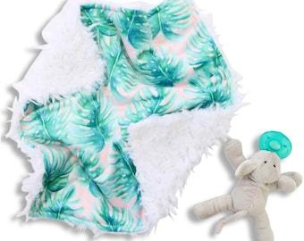 Blush Palms Minky Baby Girl Lovey   Green and Blush Palm Security Blanket   Mini Baby Blanket   Faux Fur Lovie