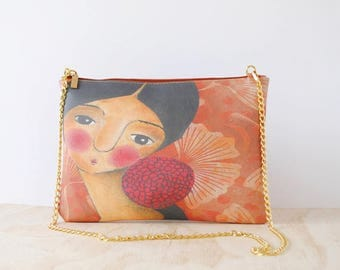 Eco-Friendly Leather Clutch, 'Self-Portrait with a Red Flower' by ChiarArtIllustration