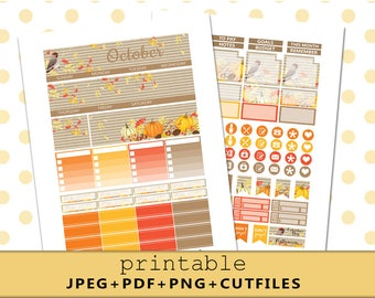 OCTOBER Monthly View/Printable Planner Stickers for use with Erin Condren Life Planner/Monthly Sticker Kit//Autumn Stickers/Fall Sticker Set