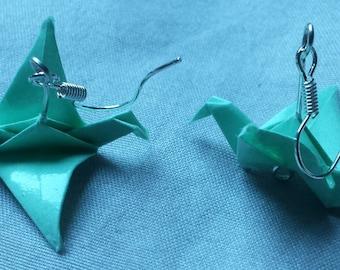 Water green cranes origami earrings