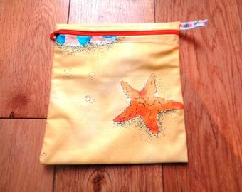 Snack Bag - Bikini Bag - Lunch Bag  - Zero Waste Medium Poppins Waterproof Lined Zip Pouch - Sandwich bag - Eco - Yellow Beaches Shells Sand