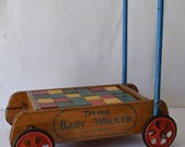 Vintage Triang Wooden Baby Walker With Wooden Coloured Blocks 1960s