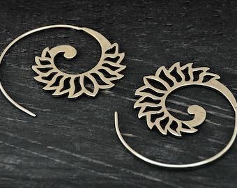Tribal Hoop Earrings, Spiral Earrings, Silver Hoop Earrings, Gypsy Earrings, Spiral Silver Earrings, Ethnic Earrings, Tribal Jewelry