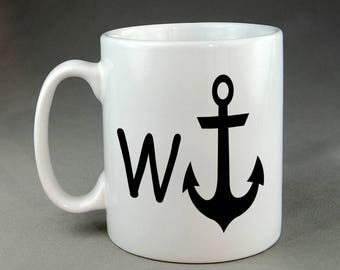 W Anchor Insult Wanker Swearing Funny Joke Insult Parody Ceramic Mug Meme Gift Adult Humor Rude Coffee Cup