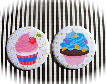 Set of 2 magnets 56 mms 'Cupcakes'