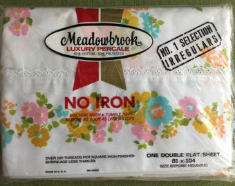 Meadowbrook Full Double Standard Flat Sheet, 70s / 80s Floral, NOS in Wrapper