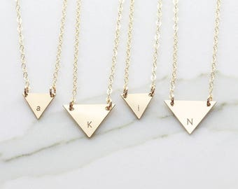 Personalized Initial Necklace, Initial Triangle  Necklace, Bridesmaid Gift, Gift for her, Name Plate Necklace ( OD 12.10-15.13)