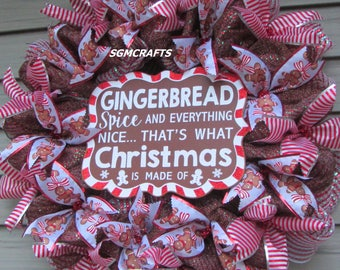 Gingerbread Christmas Wreath Gingerbread Sign Wreath Gingerbread Man Christmas Wreath Christmas Wreath Christmas Kitchen Wreath