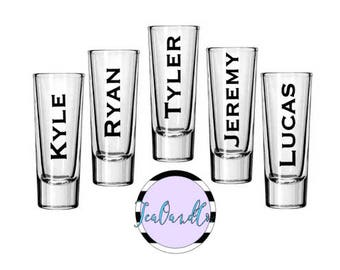 Groomsmen Shot Glasses// Hand Painted or Etched