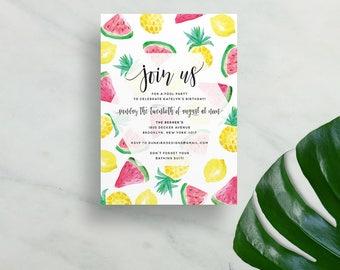 watercolor fruits invitations // fun summer party invites // shower invites // watermelon lemon pineapple invite // printable custom invite