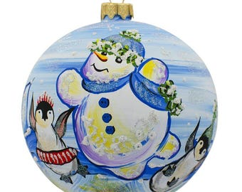 """4"""" Snowman with Penguin Glass Ball Christmas Ornament"""
