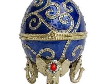 "12"" Jeweled Oriental Elephant Faberge Inspired Easter Egg"