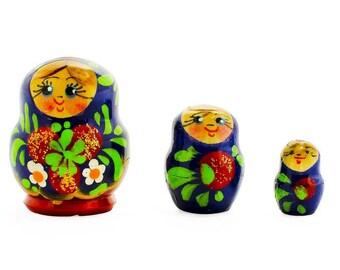 2'' Set of 3 Miniature Flowers Russian Nesting Dolls