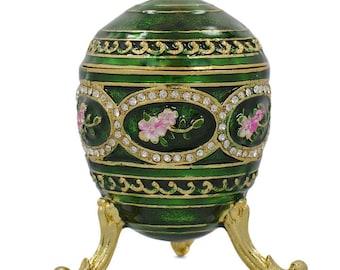 """2.75"""" Flowers on Green Enamel Faberge Inspired Easter Egg"""