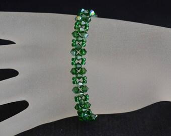 Bracelet fine crystal Swarovski fern green ab