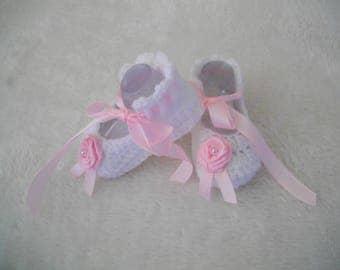 Hand crocheted christening baby booties