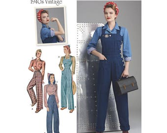 Simplicity sewing pattern 8447 1940s vintage retro Rosie the Riveter costume outfit pants overalls blouse misses' sizes 16-24 UNCUT
