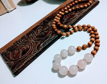 Fragrant sandalwood and rose quartz necklace with hill tribe silver bead, beaded necklace, handmade
