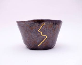 Kintsugi Inspired Bowl - Brown Food Safe Kintsukuroi Ceramic Bowl - PP-MLSC-842