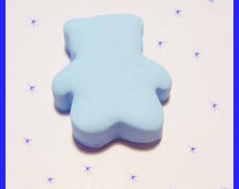 Pastel blue Teddy bear polymer clay cabochon