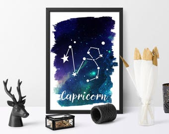 Capricorn, printable, watercolour, zodiac print, gift for her, watercolour galaxy, astrology art, wall art, instant download,