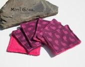 lot de 6 lingettes lavables en tissu éponge/coton.