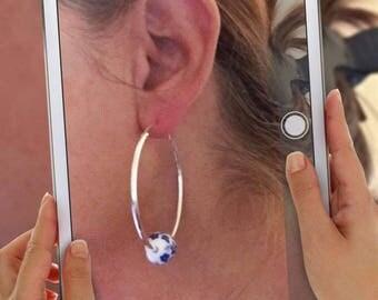 Floral bead and metal earrings