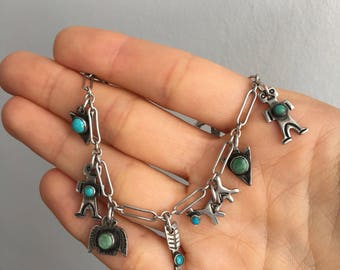 Turquoise and Silver Navajo Charm Bracelet | c. 1970's