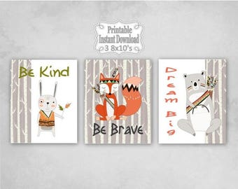 SALE Printable Tribal Woodland Animals Nursery Wall Art Decor Be Kind Brave Dream Big Bear Fox Rabbit Baby ~ DIY Instant Download ~ 3 8x10 P