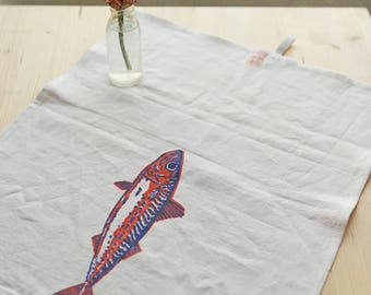 Hand-printed linen dish towel with fish