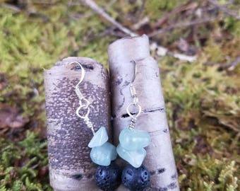 Lava stone and quartz earrings