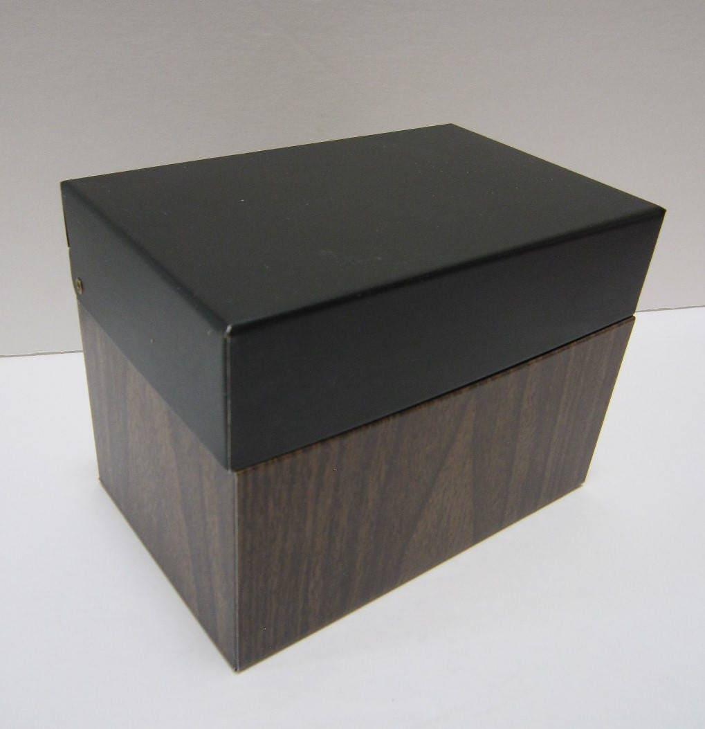 Mid Century Modern Office Supplies Desk Accessories Decor Metal Index Card  Box File Box Storage Vintage