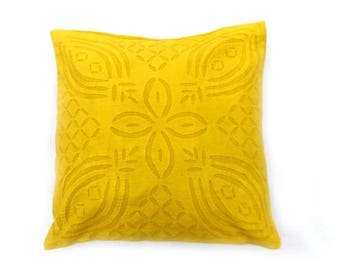 """Indian Pure Cotton Cushion Cover Home Cut Work Decorative Yellow Color Size 17x17"""""""