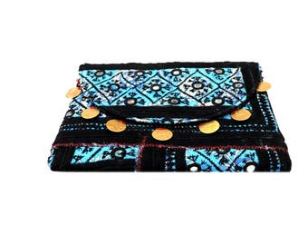 Indian Cotton Banjara Embroidery with Antique Coin Clutch Bag in Multi Color