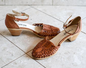 9 West Nine West Huaraches Braided Leather Sandals 1970s Heels Ankle strap