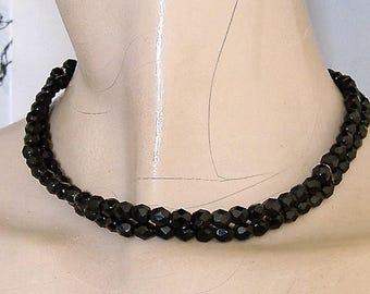 1950S FRENCH JET DOUBLE strand choker