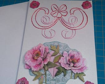 Embroidered greeting card and 3D 742