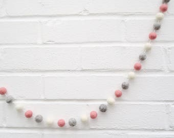 Blush Pink, Grey & White Felt Ball Garland, Felt Ball Garland, Pom Pom Garland, Garland, Home, Decoration, Wall Hanging, Felt Ball, Decor
