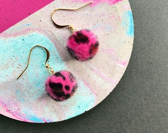 Pink Pom Pom Earrings, Leopard Print, Pom Pom Earring, Small Pom Pom Earrings, Fluffy Earrings, Statement Earrings, Dangle Earrings