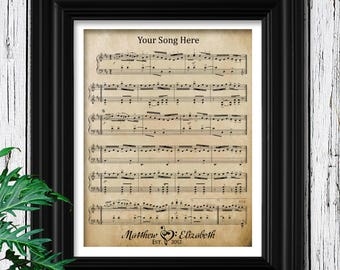 For Husbands Gift | Personalized Mens | Custom Sheet Music Art | Husband & Wife Wedding Song | Husband Gift | Framed Sheet Music For Men