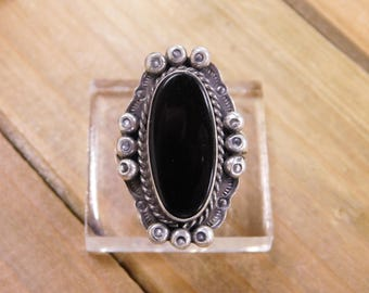 Sterling Silver Onyx Ring Size 6