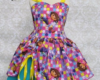 Girls Dora the Explorer and Boots the Monkey Birthday Party Pageant Outfit Dress Skirt