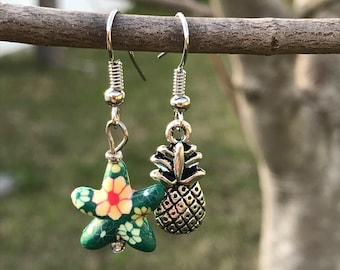 Beach Inspired Mismatched Earrings, Starfish Pineapple Mismatched Tropical Earrings, Green Floral Star Fish and Pineapple Ocean Earrings.