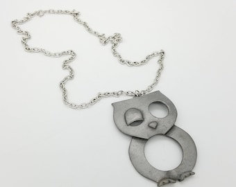 """1960's Pewter Gray Winking Owl Pendant  on 24"""" Silver Tone Chain"""