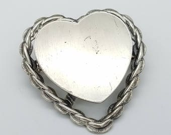 Engravable Vintage Beau Sterling Silver Heart Brooch