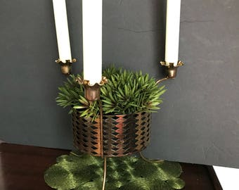 Mid Century Brass Candelabra with Planter / Bowl