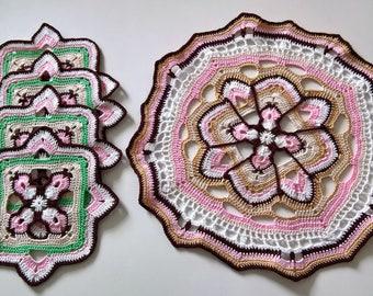 Set 4 coasters crochet and doily.