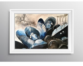 Big Mussels - Physical Print of Mussel Shell Oil Painting (Multiple Sizes)